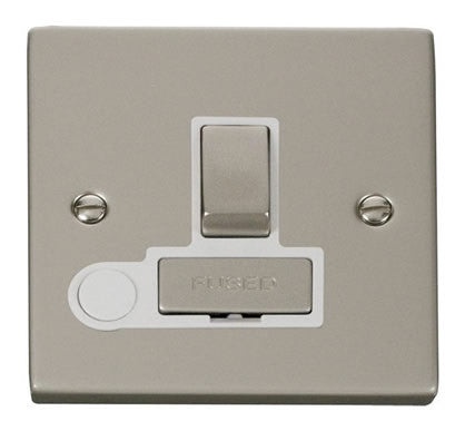 Pearl Nickel 13A Fused Ingot Connection Unit Switched With Flex - White Trim
