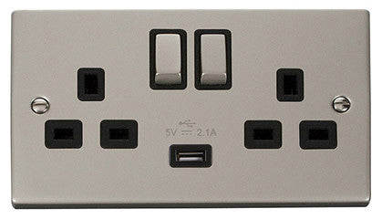Pearl Nickel 2 Gang 13A DP Ingot 1 USB Twin Double Switched Socket - Black