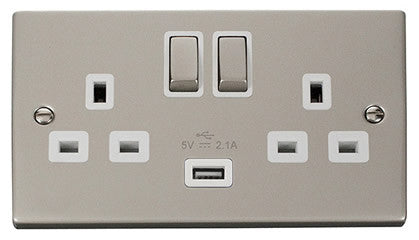 Pearl Nickel 2 Gang 13A DP Ingot 1 USB Twin Double Switched Socket - White