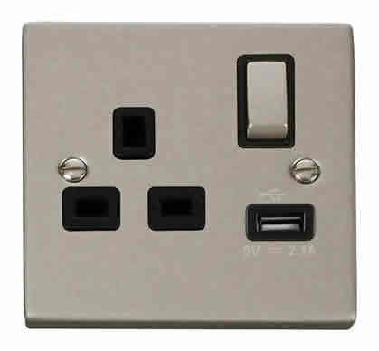 Pearl Nickel 1 Gang 13A DP Ingot 1 USB Switched Plug Socket - Black Trim