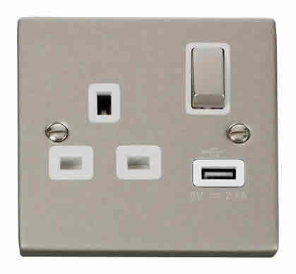 Pearl Nickel 1 Gang 13A DP Ingot 1 USB Switched Socket - White