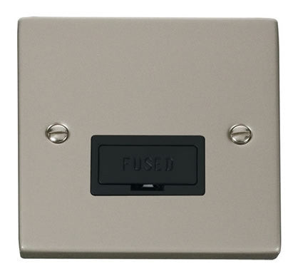 Pearl Nickel 13A Fused Connection Unit - Black Trim