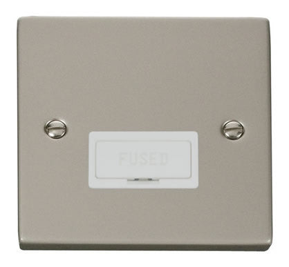 Pearl Nickel 13A Fused Connection Unit - White Trim
