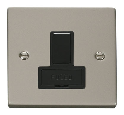 Pearl Nickel 13A Fused Connection Unit Switched - Black Trim