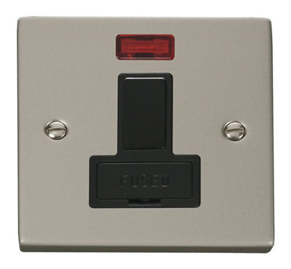 Pearl Nickel 13A Fused Connection Unit Switched With Neon - Black Trim