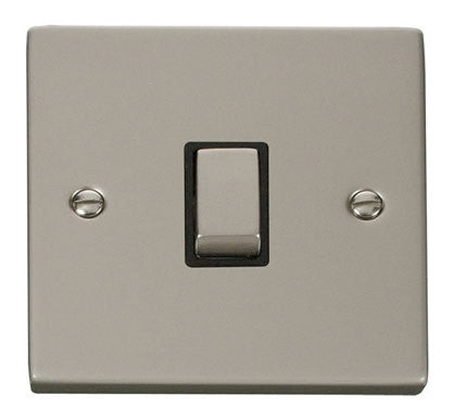 Pearl Nickel 1 Gang 20A Ingot DP Switch - Black Trim