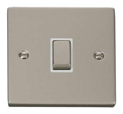 Pearl Nickel 1 Gang 20A Ingot DP Switch - White Trim