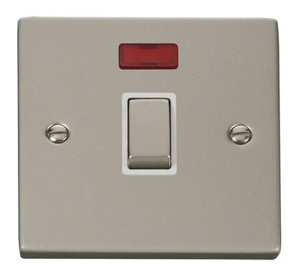 Pearl Nickel 1 Gang 20A Ingot DP Switch With Neon - White Trim