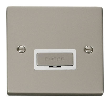 Pearl Nickel 13A Fused Ingot Connection Unit - White Trim