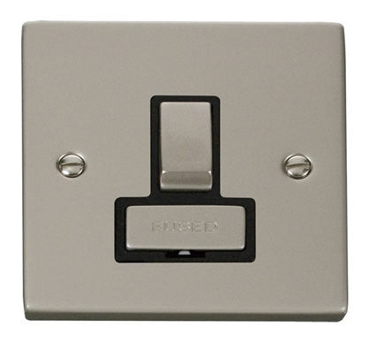 Pearl Nickel 13A Fused Ingot Connection Unit Switched - Black Trim