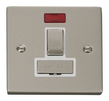 Pearl Nickel 13A Fused Ingot Connection Unit Switched With Neon - White Trim