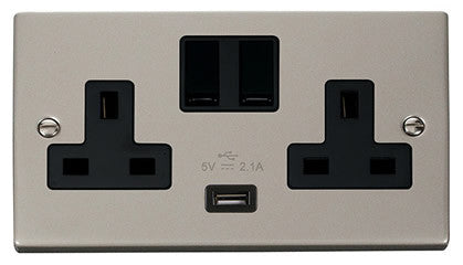 Pearl Nickel 2 Gang 13A 1 USB Twin Double Switched Socket - Black