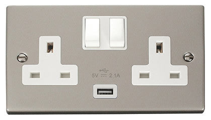 Pearl Nickel 2 Gang 13A 1 USB Twin Double Switched Socket - White