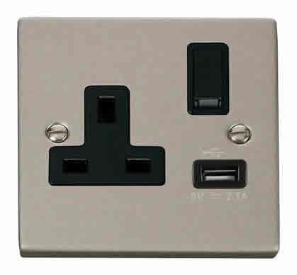 Pearl Nickel 1 Gang 13A DP 1 USB Switched Socket - Black