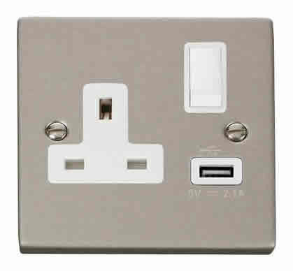 Pearl Nickel 1 Gang 13A DP 1 USB Switched Plug Socket - White Trim