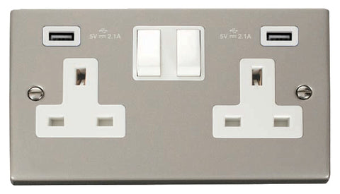 Pearl Nickel 2 Gang 13A 2 USB Twin Double Switched Socket - White