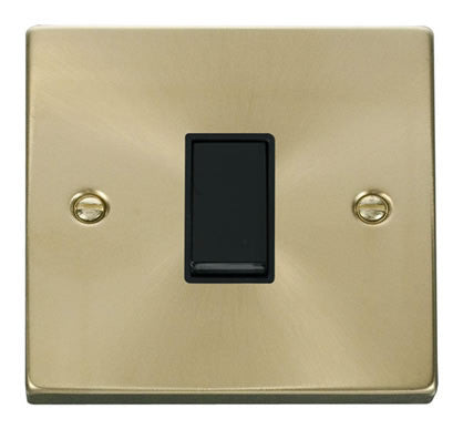 Satin Brass 10A 1 Gang 2 Way Light Switch - Black Trim