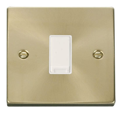 Satin Brass 10A 1 Gang 2 Way Light Switch - White Trim