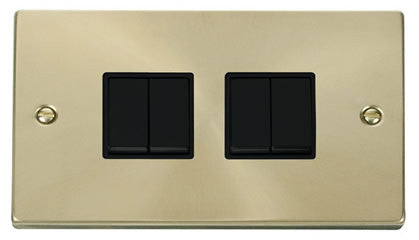 Satin Brass 10A 4 Gang 2 Way Light Switch - Black Trim