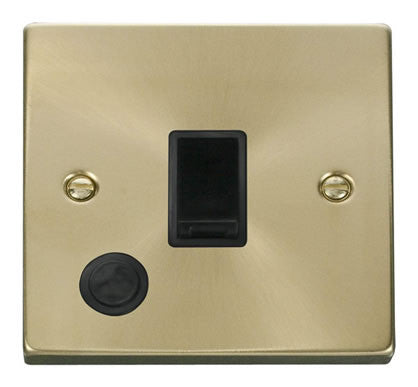 Satin Brass 1 Gang 20A DP Switch With Flex - Black Trim