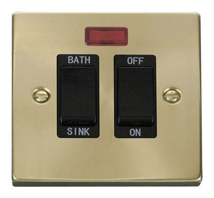 Satin Brass 20A DP Sink/bath Switch - Black Trim