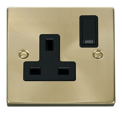 Satin Brass 1 Gang 13A DP Switched Plug Socket - Black Trim