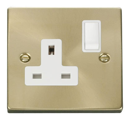 Satin Brass 1 Gang 13A DP Switched Plug Socket - White Trim