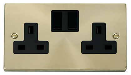 Satin Brass 2 Gang 13A Twin Double Switched Plug Socket - Black Trim