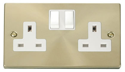 Satin Brass 2 Gang 13A Twin Double Switched Plug Socket - White Trim