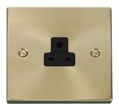 Satin Brass 1 Gang 2A Round Pin Socket - Black Trim