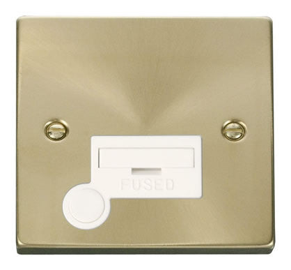Satin Brass 13A Fused Connection Unit With Flex - White Trim