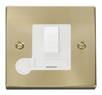 Satin Brass 13A Fused Connection Unit Switched With Flex - White Trim