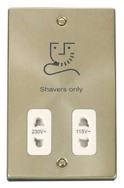 Satin Brass Dual Voltage Shaver 115v/230v - White Trim