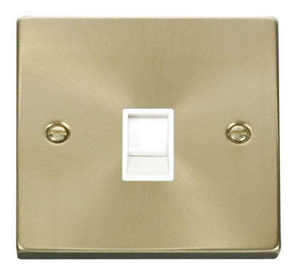 Satin Brass Rj11 Socket - White Trim