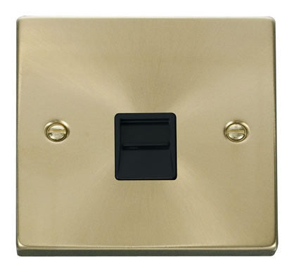 Satin Brass Master Telephone Single Socket - Black Trim