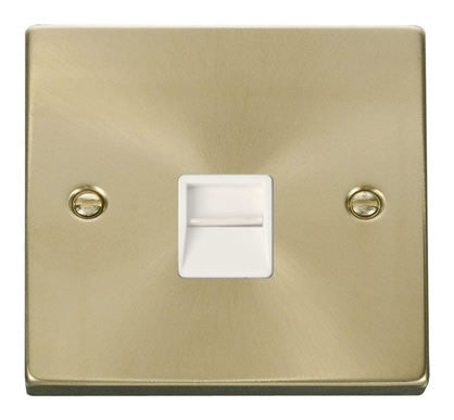 Satin Brass Master Telephone Single Socket - White Trim