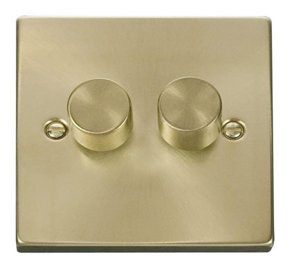 Satin Brass 2 Gang 2 Way 400w Dimmer Light Switch