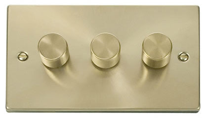 Satin Brass 3 Gang 2 Way 400w Dimmer Light Switch