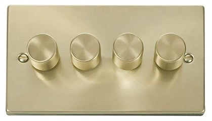 Satin Brass 4 Gang 2 Way 400w Dimmer Light Switch