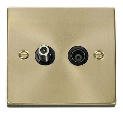 Satin Brass Satellite And Isolated Coaxial 1 Gang Socket - Black Trim