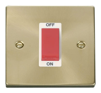 Satin Brass 1 Gang Size 45A Switch - White Trim
