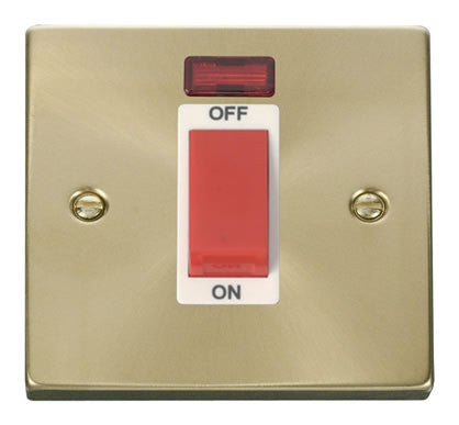 Satin Brass 1 Gang Size 45A Switch With Neon - White Trim