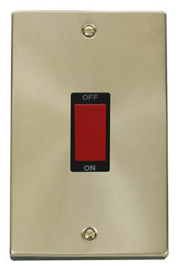 Satin Brass 2 Gang Size 45A Switch - Black Trim