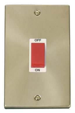 Satin Brass 2 Gang Size 45A Switch - White Trim