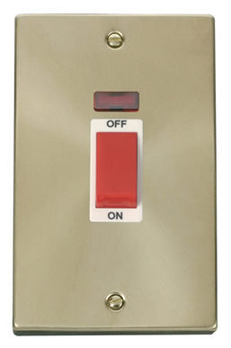 Satin Brass 2 Gang Size 45A Switch With Neon - White Trim