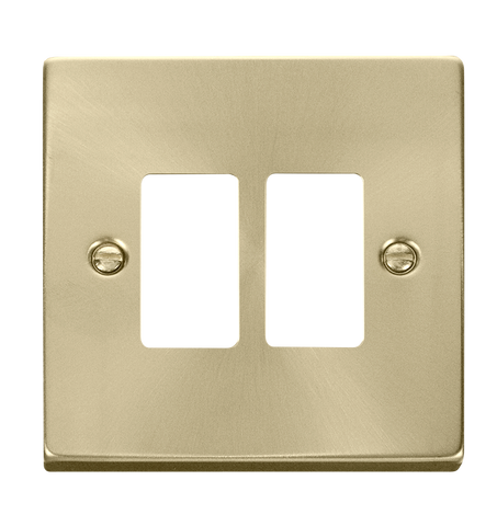 Gridpro 2 Gang Satin Brass Plate