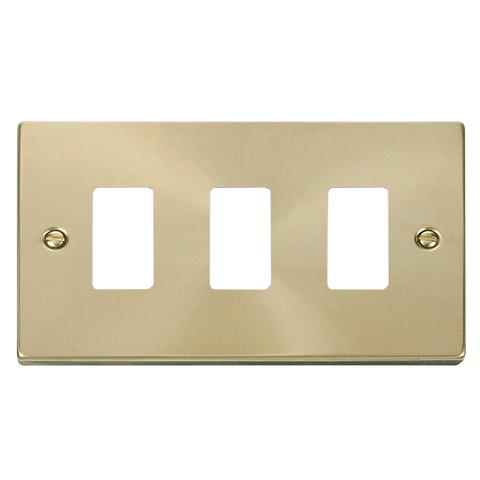 Gridpro 3 Gang Satin Brass Plate