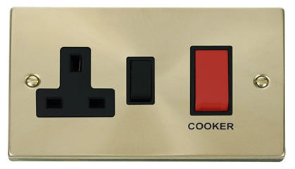 Satin Brass Cooker Control 45A With 13A Switched Plug Socket - Black Trim