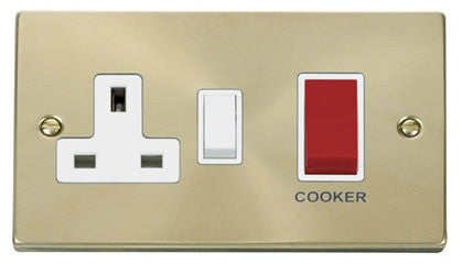 Satin Brass Cooker Control 45A With 13A Switched Plug Socket - White Trim