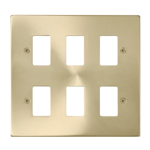 Gridpro 6 Gang Satin Brass Plate